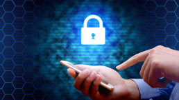 Cyber security concept and businessman using smartphone