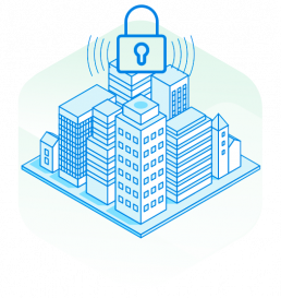 building with lock graphic