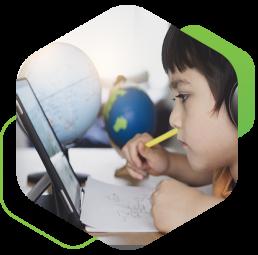 kids doing homework on laptop
